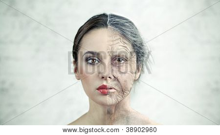 Half old half young woman