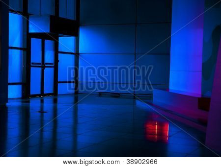 Blue dark modern hall