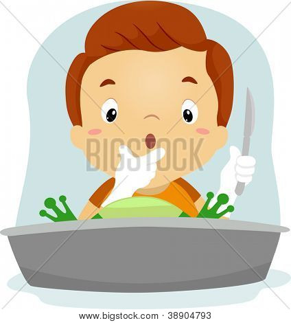Illustration of a Boy Dissecting a Frog