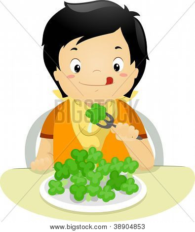 Illustration of a Boy Eating Brocolli