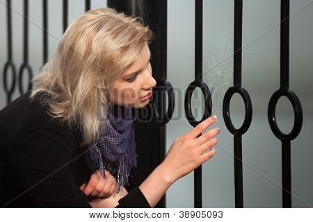 Young woman looking at the spider web