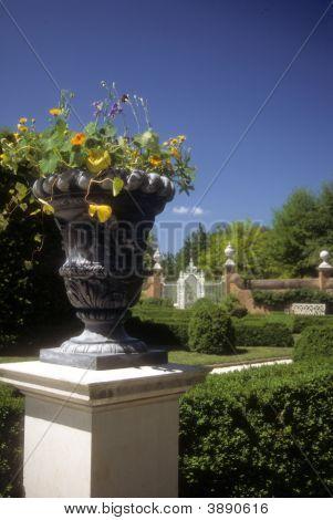 Flower Urn In Colonial Garden
