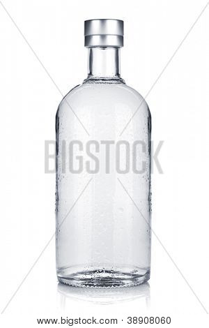 Bottle of russian vodka. Isolated on white background