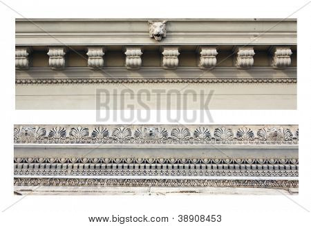 Details of ancient ornamental friezes. Isolated over white