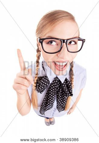 Funny school girl pointing up, fish eye lens portrait