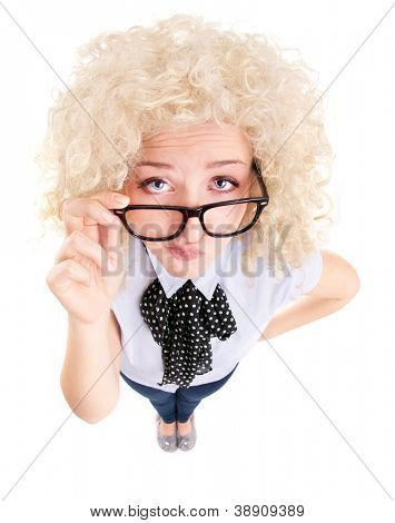Funny woman wearing glasses