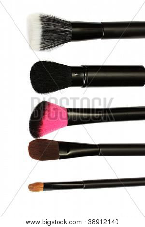 black brushes for make-up isolated on white