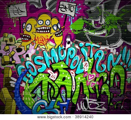 Graffiti wall urban art background. Grunge hip hop artistic design