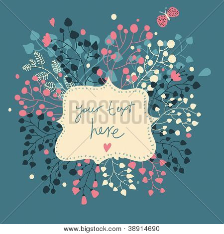 Vintage floral frame with flowers and butterfly. Beautiful vector background