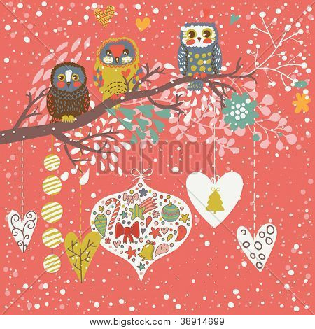 Holiday concept illustration. Christmas background with birds in romantic style in vector
