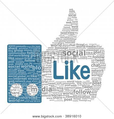 Like sign. Thumbs up created from the words used in social networks. Vector eps10 illustration
