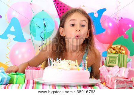Little beautiful girl celebrate her birthday