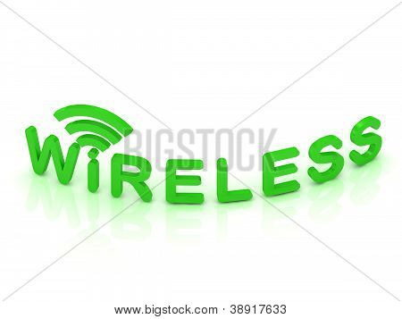 Green Wireless Logo, 3D Render