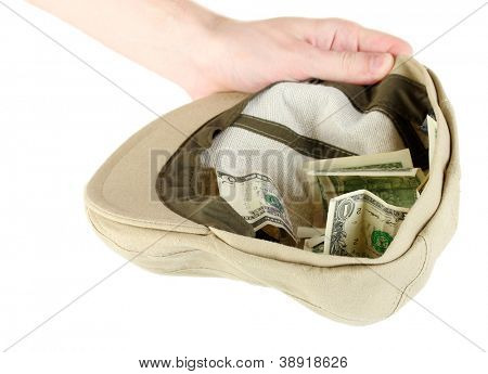musician hat with money isolated on white