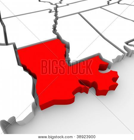 A red abstract state map of Louisiana, a 3D render symbolizing targeting the state to find its outlines and borders