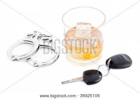 Handcuff a whiskey and a car key against a white background