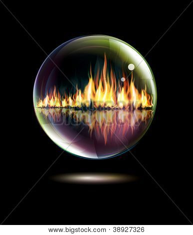 Glass bowl with a flame inside on a black background