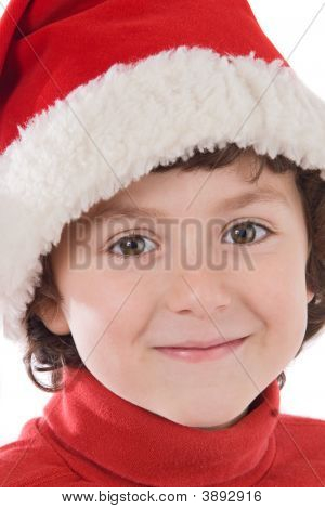 Adorable Boy With Red Hat Of Christmas