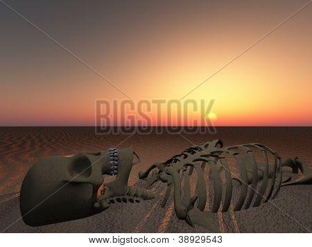 Sun rises or sets over skeleton of man