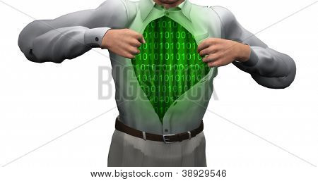 Man opens shirt to reveal binary streams