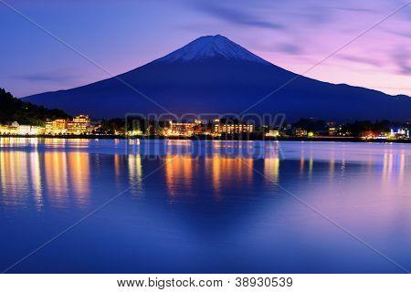 Mount Fuji at dusk near Lake Kawaguchi in Yamanashi Prefecture, Japan.