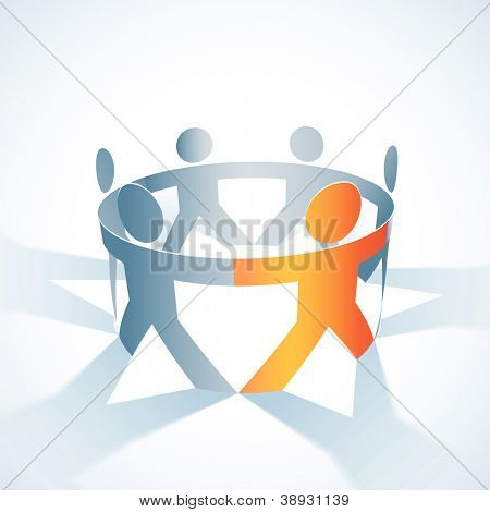 Vector togetherness concept illustration. People symbol chain. Elements are layered separately in vector file.