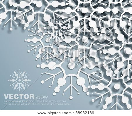 Vector 3d  decorative corner design of overlapping  snowflakes . The shadows are entirely vector based .