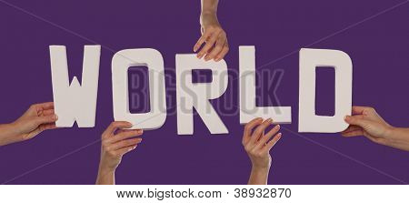 White alphabet lettering spelling WORLD held in up over a purple background by female hands
