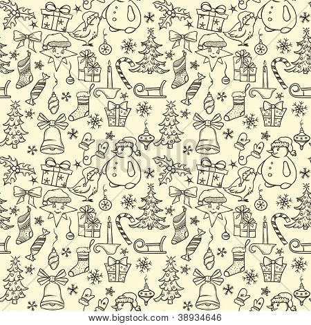 Christmas seamless pattern with big set of christmas objects