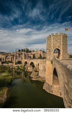 Ancient romanesque bridge over river, Besalu