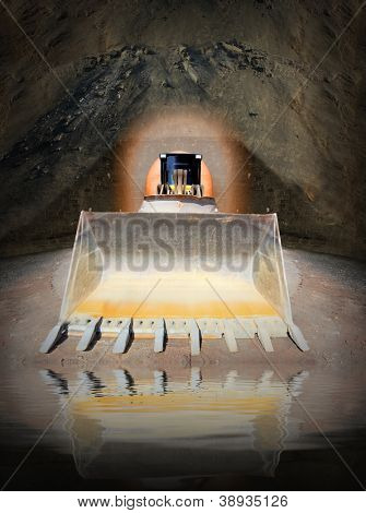 Excavator in digging hole. Environmental concept - underground water pollution.