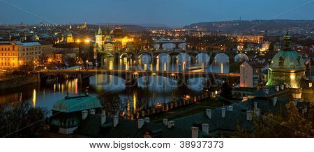 Charles Bridge in Prague (Karluv Most) the Czech Republic. This bridge is the oldest in the city and a very popular tourist attraction