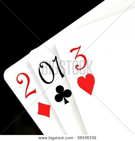 2013, the new year, written with playing cards