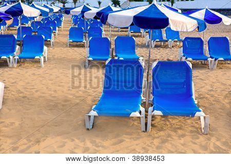 Beach Las vistas in Adeje coast hammocks at Tenerife south Canary Islands