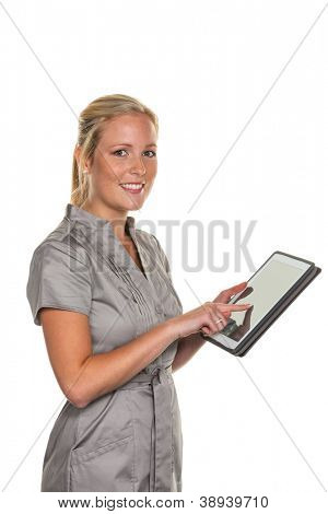 young business woman using a tablet computer. with modern electronics can communicate anytime and anywhere