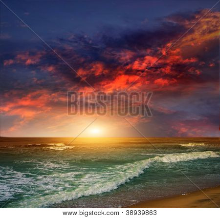 Folly Beach Ocean Sunset Landscape seascape scene in the Indian Ocean
