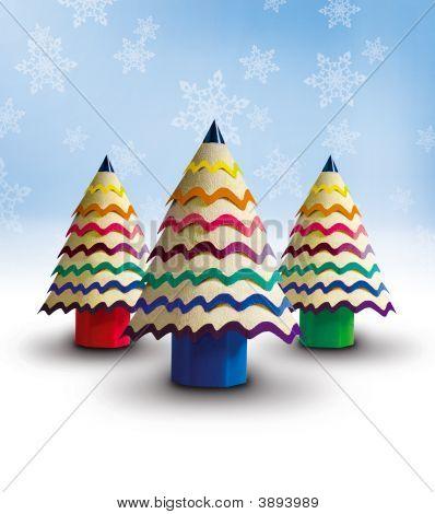 mein Mini Bleistift-Weihnachtsbäume 2