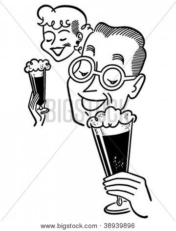 Couple Enjoying Beer - Retro Clipart Illustration