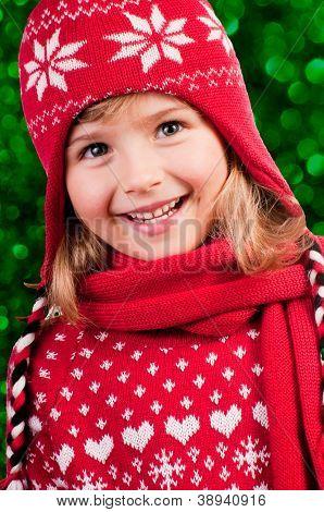 Winter, Christmas,  kid - portrait of lovely girl at Christmas time