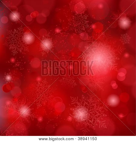 Snowflakes and blurry lights on dark red background. Great backdrop for winter or Christmas themes. Space for your text.