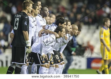 VALENCIA - NOVEMBER 7: Valencia Players during UEFA Champions League match between Valencia CF and FC Bate Borisov, on November 7, 2012, in Mestalla Stadium, Valencia, Spain