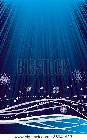 Snowflakes on blue striped background. Festive pattern great for winter or christmas themes