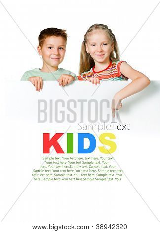 cute kids with white board with sample text