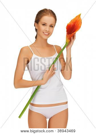 bright picture of lovely woman with calla lilly.