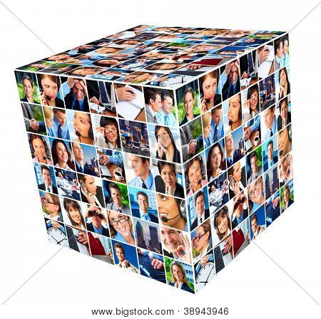 Group of business people. cube collage background.