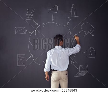 Businessman writing a cloud computing diagram on the chalkboard