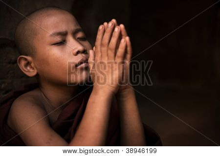 Young little novice monk praying