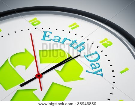 An image of a nice clock with Earth Day