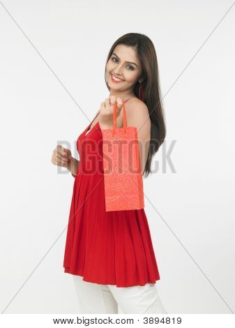 Asian Woman With A Shopping Bag