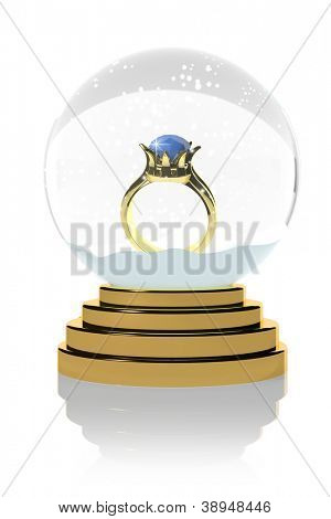Diamond ring in a snow globe
